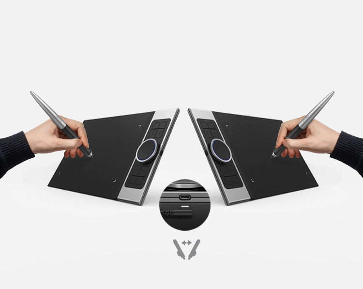 XP-Pen Deco Pro Series Graphics tablet features  USB-C USB port Usable with both right & left hand