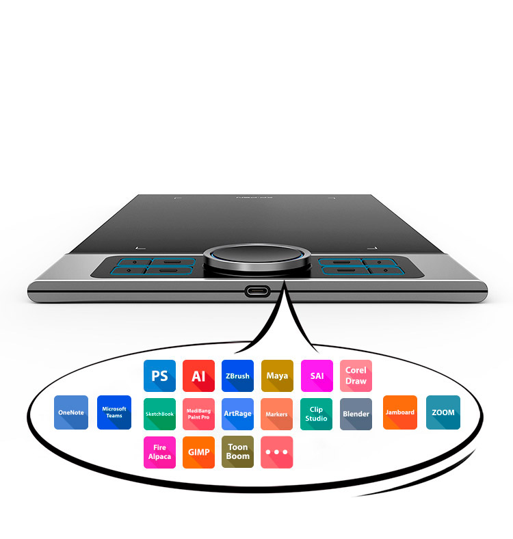 XP-Pen Deco Pro graphic tablet includes  8 fully customizable buttons